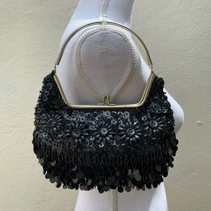 Black Beaded sequin Handbag Clutch Bag Hong Kong